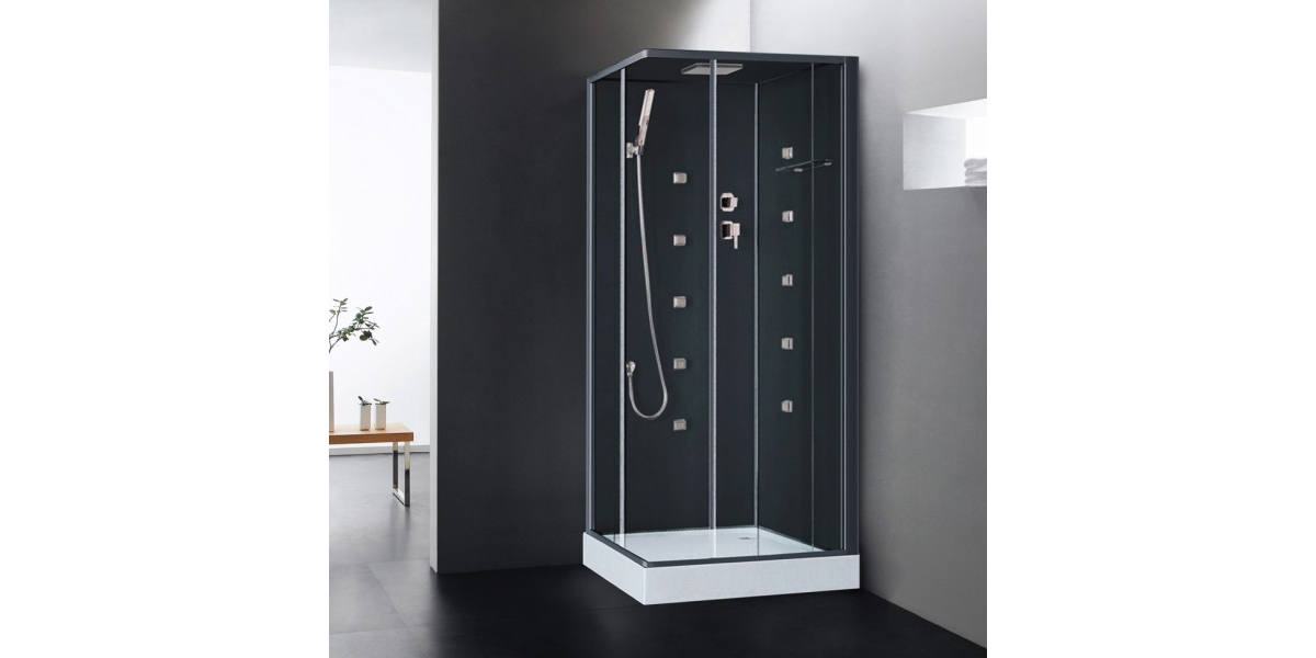 cabine de douche int grale hydromassante irina noire en verre. Black Bedroom Furniture Sets. Home Design Ideas
