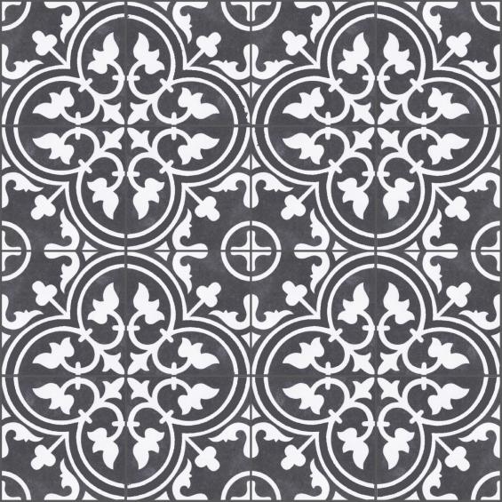 carreaux ciment effet sol ancien noir et blanc