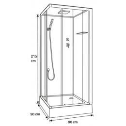 Cabine de douche intégrale Irina Noir 90cm
