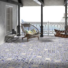 Carrelage sol effet carreaux de ciment Bayou caleta blue 15*15 cm