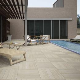 Carrelage sol extérieur effet bois Tek blanco R11 45*45 cm