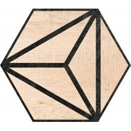 Carrelage sol hexagonal Legno beige 25*25 cm