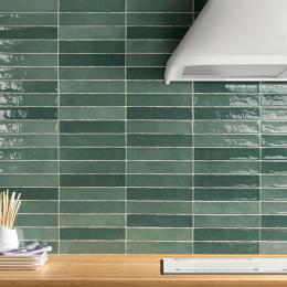 Carrelage mur effet zellige olive 5*25 cm