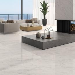 Carrelage sol poli effet marbre Novo white 120*120 cm
