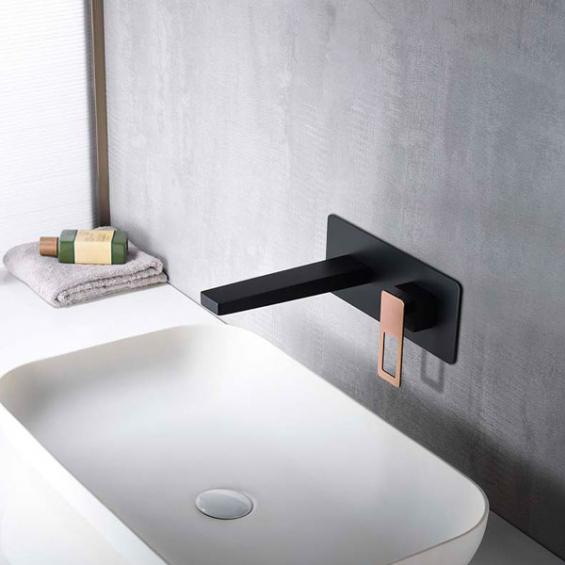 Mitigeur lavabo Encastré Silvione noir / or rose