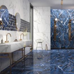 Carrelage sol et mur poli effet marbre Botticcino universe 60*120 cm