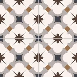 Carrelage sol effet carreaux de ciment Vintage grace gris 33,15*33,15 cm