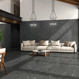 Carrelage sol effet pierre Carrara nero 60*60 cm